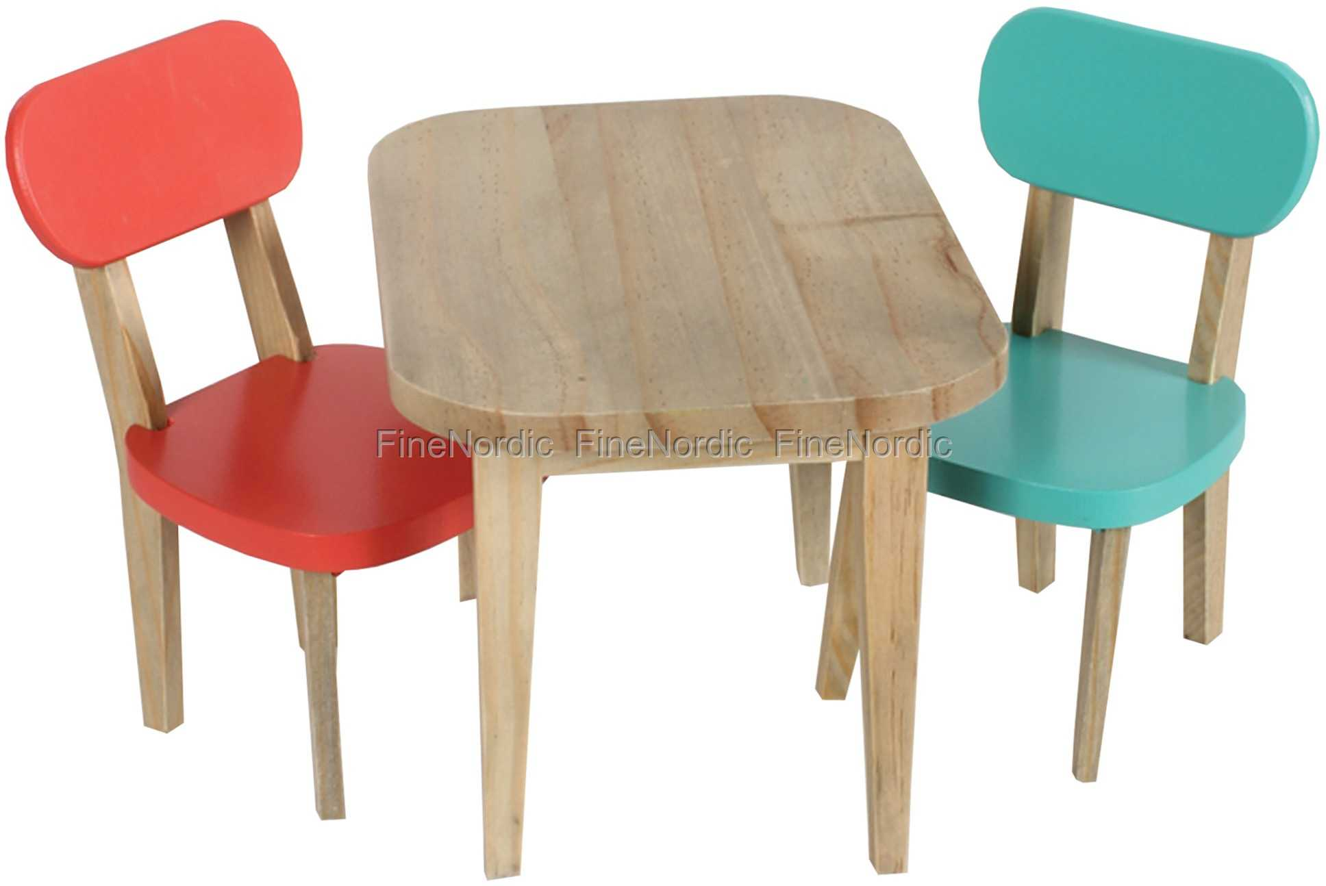 Maileg Rabbit Wooden Table and 2 Chairs   Turquise and Coral  Buy online here  Product Code 11