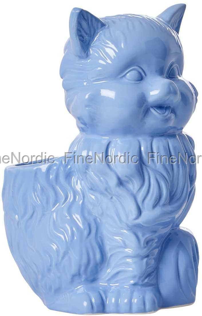 Rice Ceramic Cat Toothbrush Holder Blue