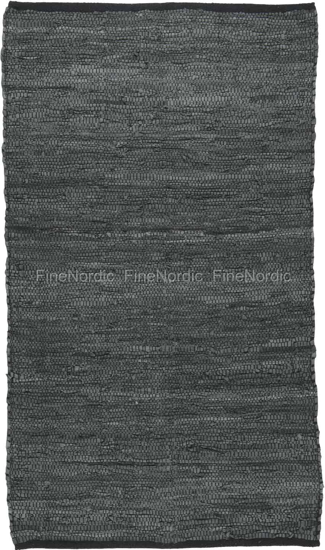 Ib Laursen Leather Rug Dark Grey 70 X 120 Cm